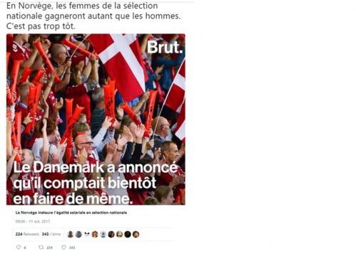 Brutsport - Twitter : En Norvège, les femmes de la sélection nationale gagneront autant que les hommes. C'est pas trop tôt.