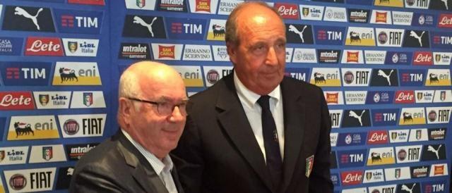 Il presidente federale, Carlo Tavecchio, con il CT azzurro, Giampiero Ventura