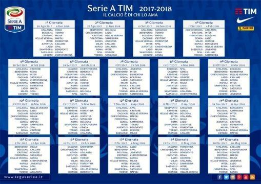 Calendario di Serie A 2017/18 , ecco tutte le partite - Positano News - positanonews.it