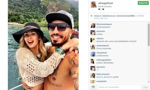 Fernando e Aline viajam juntos e anunciam relacionamento