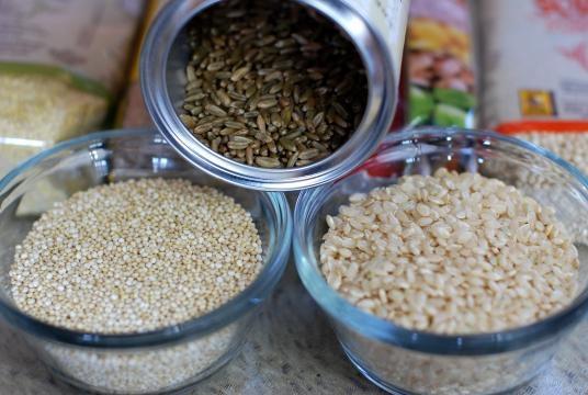 Quinoa, amaranto y arroz, arroz integral