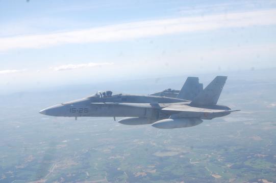 El veterano F-18, del mi9smo modelo que el estrellado en Torrejón