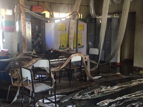 A sala da creche depois do incêndio