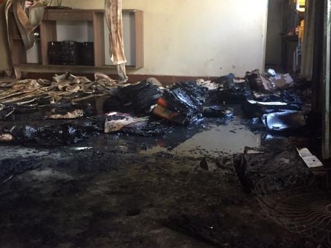 Sala da creche depois do incêndio
