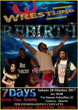La locandina di IWE - Rebirth, lo spettacolo di wrestling in programma a Genova