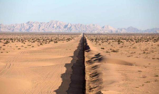 Vista actual del muro que divide la frontera México-EEUU