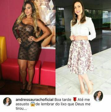 Andressa Urach antes e depois.