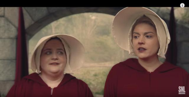 Cecily Strong and Aidy Bryant in a 'SNL' 'Handmaid's Tale