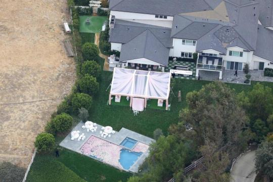 Aerial view of Kyle Jenner's baby shower at her Hidden Hills, California home.