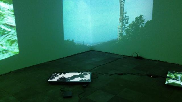 La artista propone monitores en el piso y proyecciones para dramatizar su visión.