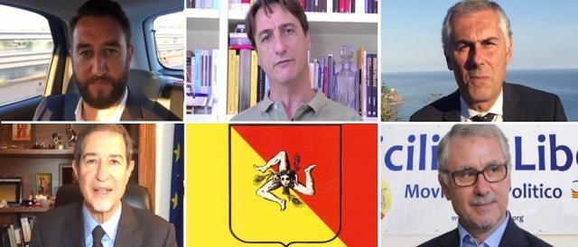 In alto, da sinistra: Giancarlo Cancelleri, Claudio Fava, Fabrizio Micari; in basso, Nello Musumeci e Roberto La Rosa