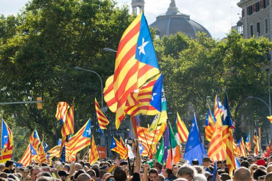 Flags fly at a recent pro-independence rally.