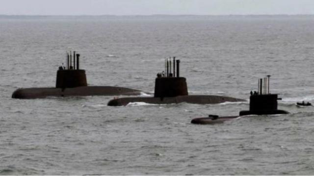 El San Juan junto a los otros dos submarinos argentinos en activo. Una imagen que no se repetirá