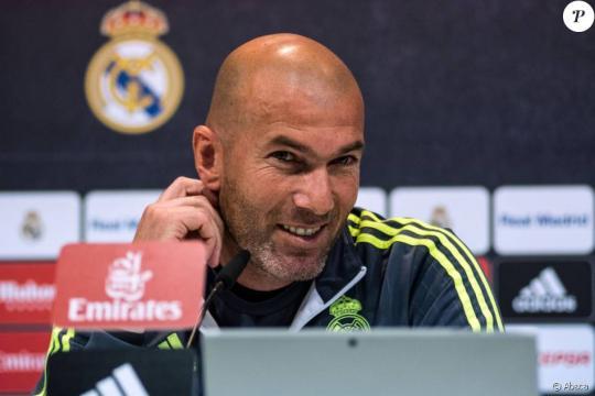 Zinédine Zidane lors d'une conférence de presse organisée à Madrid.