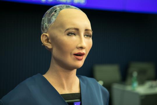 Sophia, Hanson Robotics Ltd. speaking at the AI for GOOD Global Summit, ITU, Geneva, Switzerland [image source: © ITU/R.Farrell/ Flickr]