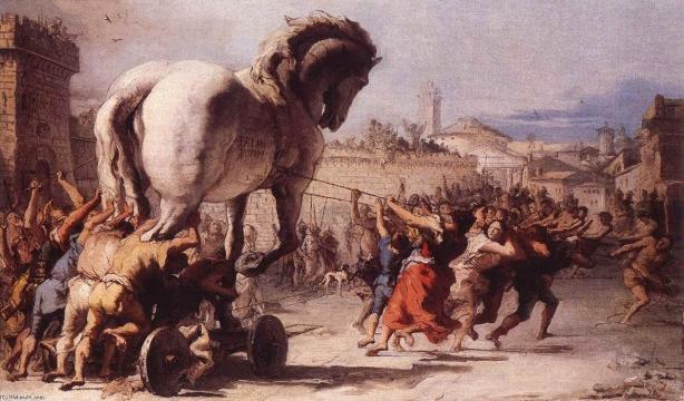 Entrada del caballo en Troya, obra de Giovanni Domenico Tiepolo (1773)