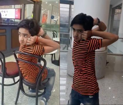 Muhammad Sameer possui a habilidade de girar sua cabeça 180 graus (Crédito: YouTube/Caters Clips)