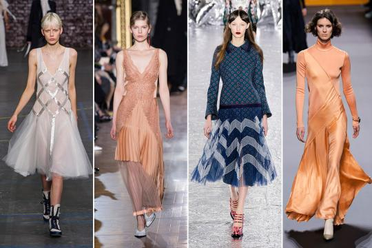 Propuestas de otoño de John Galliano, Stella McCartney, Mary Katrantzou y Hermès. FOTO: IMAXTREE