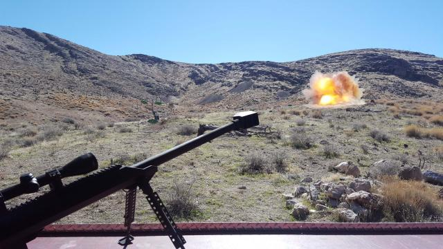 The Barrett 50 cal doing what it does best, blowing things up at the