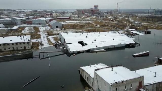 Imagine din Berezniki, orașul din Rusia care se scufundă, la propriu