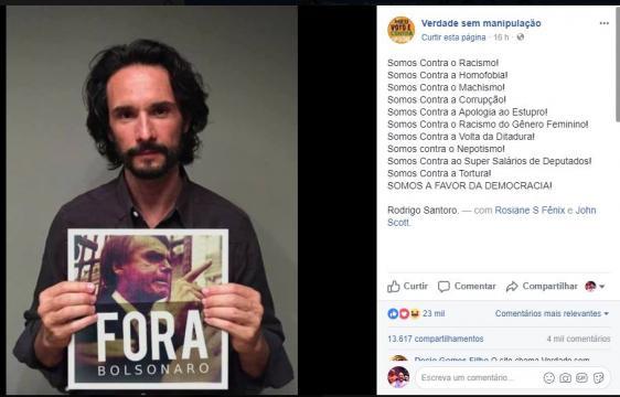 Postagem da montagem de Rodrigo Santoro segurando placa com