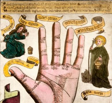 Lectura de manos. Miniatura medieval.