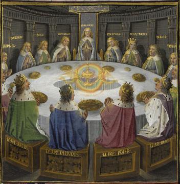 Los caballeros de la mesa redonda y el Santo Grial. Miniatura del S.XV.