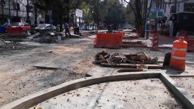 El Bulevar Veracruz en plena obra de repavimentación.