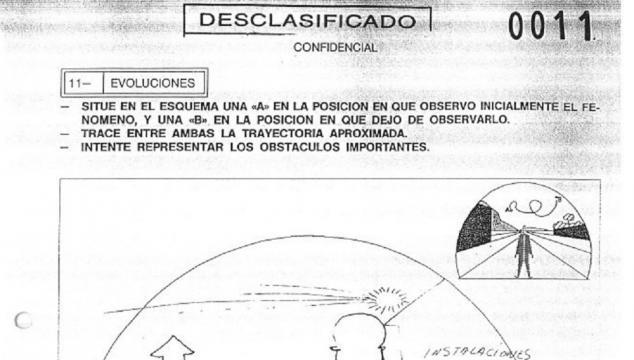 Ejemplo de representaciones dibujadas y explicadas, añadidas a los informe OVNI