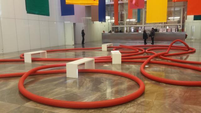Locochón acceso principal a las galerías y elevador del Museo Amparo en Puebla.