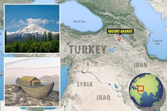 Muntele Ararat este situat la granița dintre Turcia, Armenia și Iran