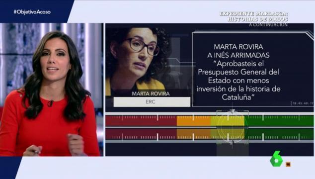 Ana Pastor en El Objetivo analizando los datos expuestos por Marta Rovira