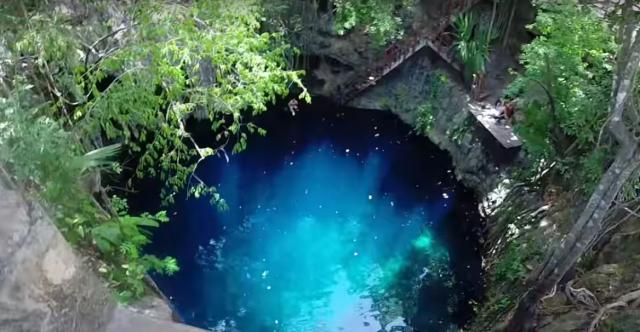 Cenotes are hidden Mexican treasures. (Image via Yucaton Cenote Youtube screencap).