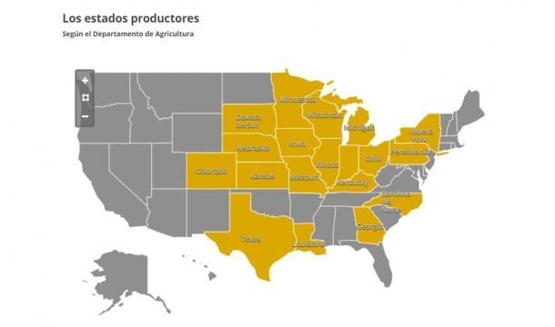 Principales productores de maíz de EE.UU