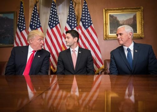 From left to right: President Donald Trump, Speaker of the House Paul Ryan, and VP Mike Pence. [Image By Caleb Smith/Public Domain]