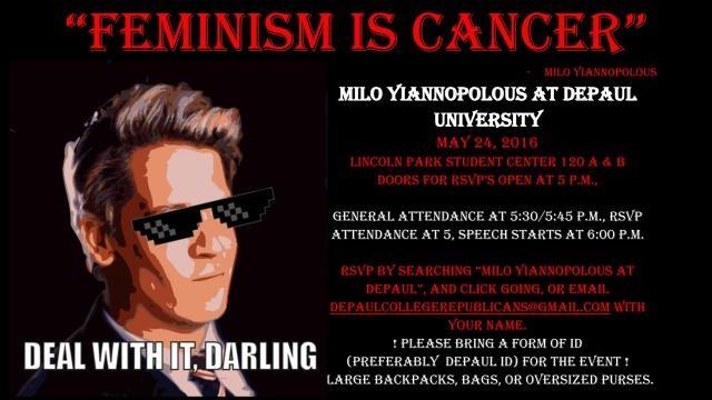 Cartel anunciador de una de las conferencias ultras que dio Milo Yiannopoulos para atacar temas como el Feminismo.