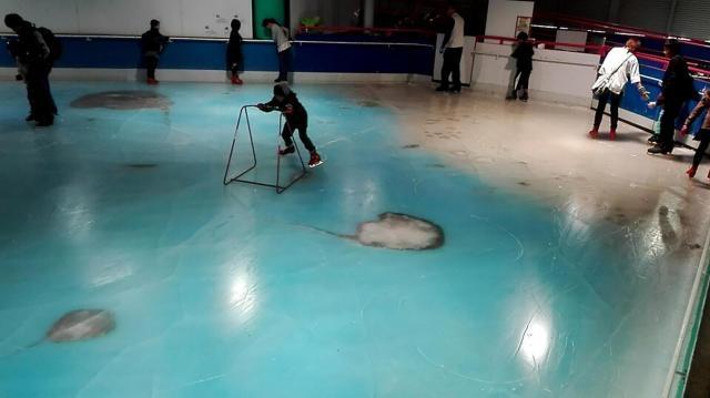 A Space World, au Japon, les visiteurs patinent sur une glace qui contient des cadavres de poissons.