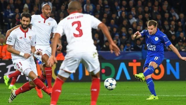 Albrighton marcó el 2-0 al comienzo del segundo tiempo. Sky Sports.com.