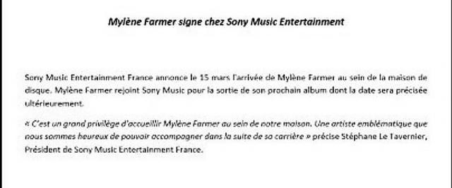 Sony vient de frapper un grand coup en signant Mylène Farmer et n'est pas peu fier (Capture d'écran).