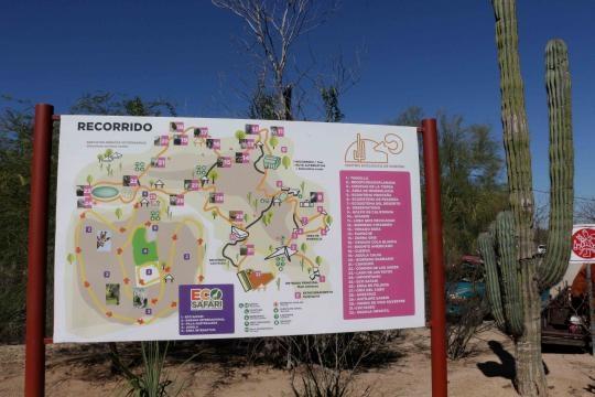 Mapa que señala el recorrido variado del parque ecológico en Hermosillo.