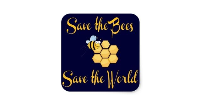 Save the Bees Save the World Square Sticker | Zazzle - zazzle.com