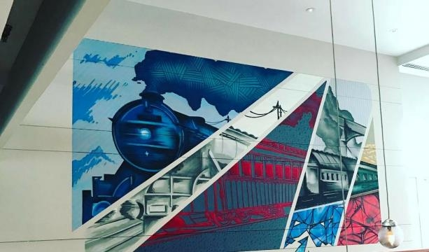 Artist Quake highlighted the Pullman brand throughout its long, illustrious history (Photo credit: Pullman Hotel--with permission)