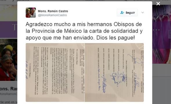 La carta de Norberto Rivera fue publicada en la cuenta oficial del obispo Castro Castro.