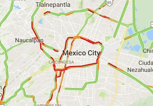 Vía google maps a las 11:22 de la mañana.