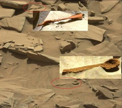 Fig. 7 Cucchiao ed un altro artefatto (Rover Curiosity dicembre 2016)