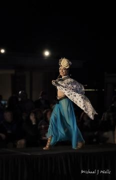 A model on the runway during the HairWars show on the final day of Scottsdale Fashion Week. (Photo copyright 2017 Michael J Wells)
