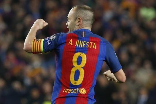 Iniesta comemorando o segundo gol do Barça.