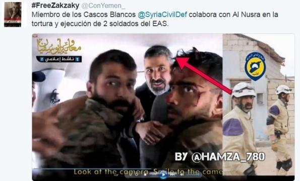 Miembro de los Cascos Blancos participando en la tortura de dos soldados sirios