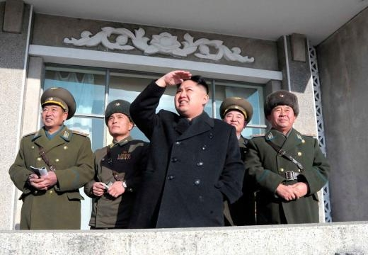 Kim Jong-un Looking upwards at a military show of strength