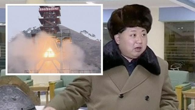 North Korea's President Kim Jong-un with a background of a missile blasting.